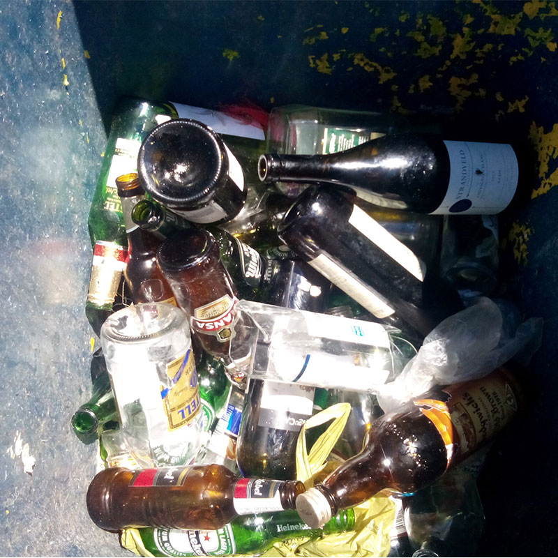 bottles in recycle bin