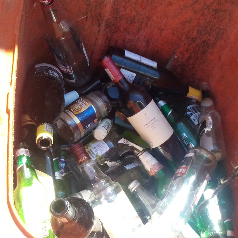 unsorted bottles