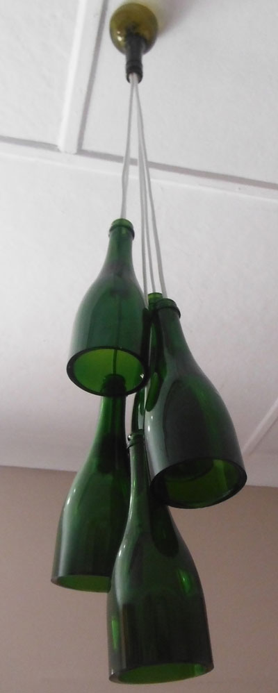 Upcycled wine bottle chandeliers aloadofball