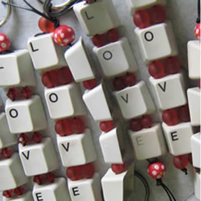 recycled keyboard keyrings