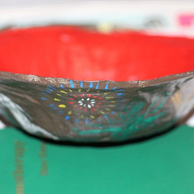 completed paper mache bowl