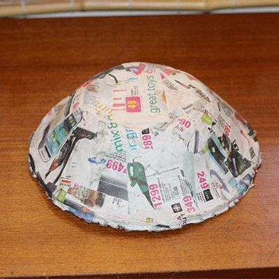 paper mache bowl removed from mould
