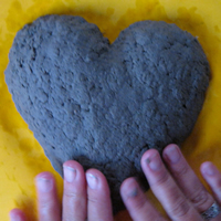 papermache heart shaping smooth