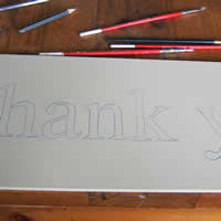 wood thankyou lettering
