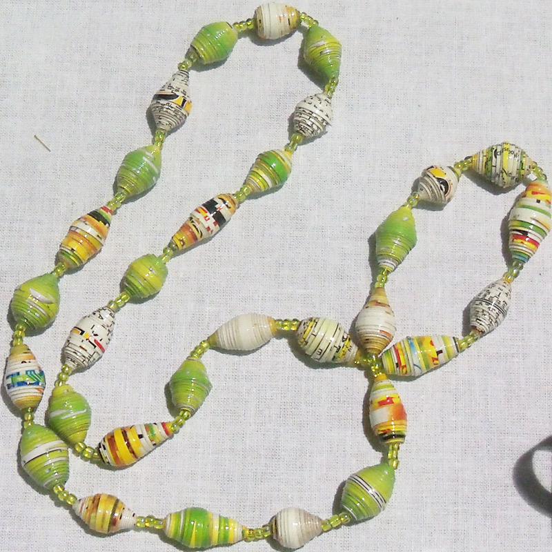 yellow green paper bead necklace