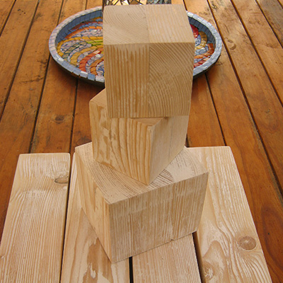 raw wooden 3 blocks