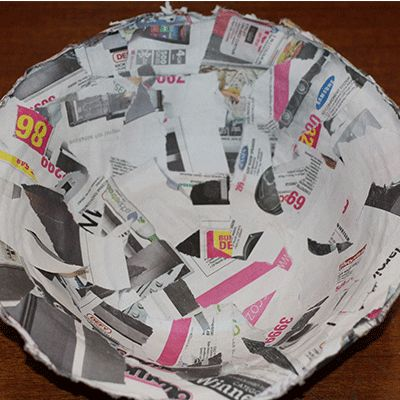 dried paper mache bowl