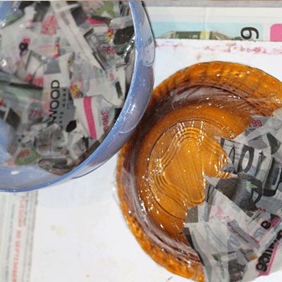starting your paper mache bowl
